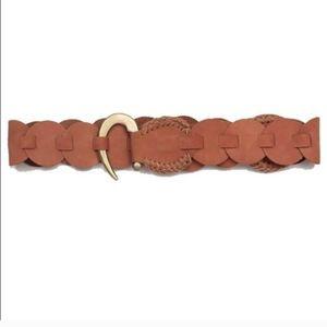 Anthropologie Cocobelle Brown Woven Hook Belt